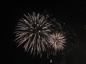 Das Feuerwerk am Abend.