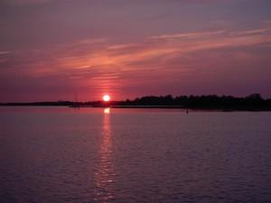 Sonnenuntergang auf Sabbinge Plaat.