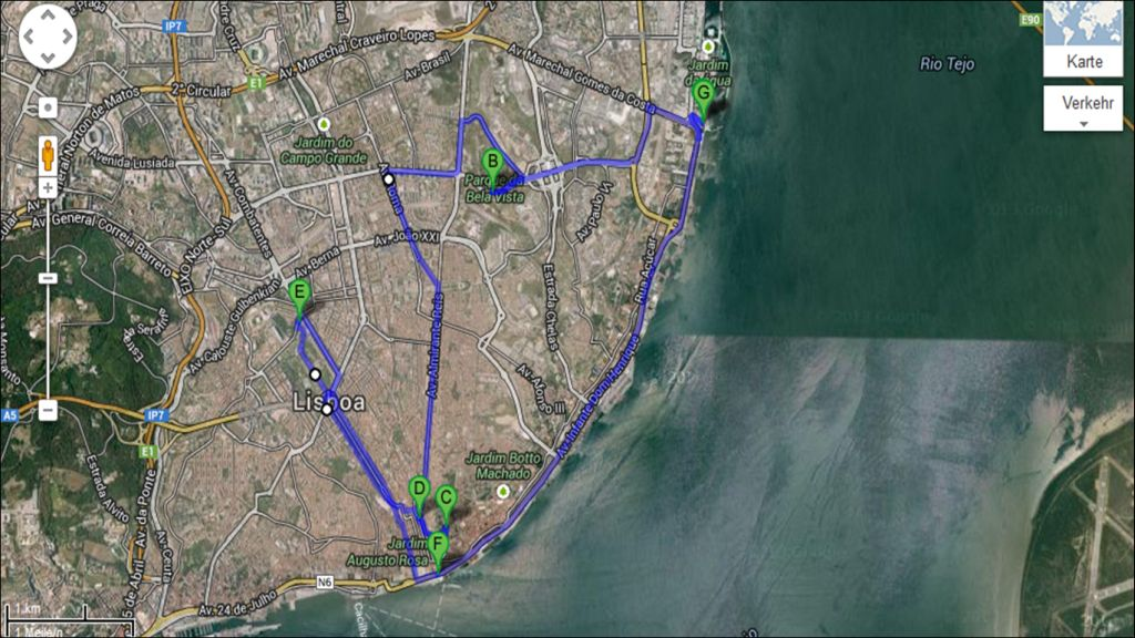 Unsere ungefähre Fahrradtour, ca. 30 km.