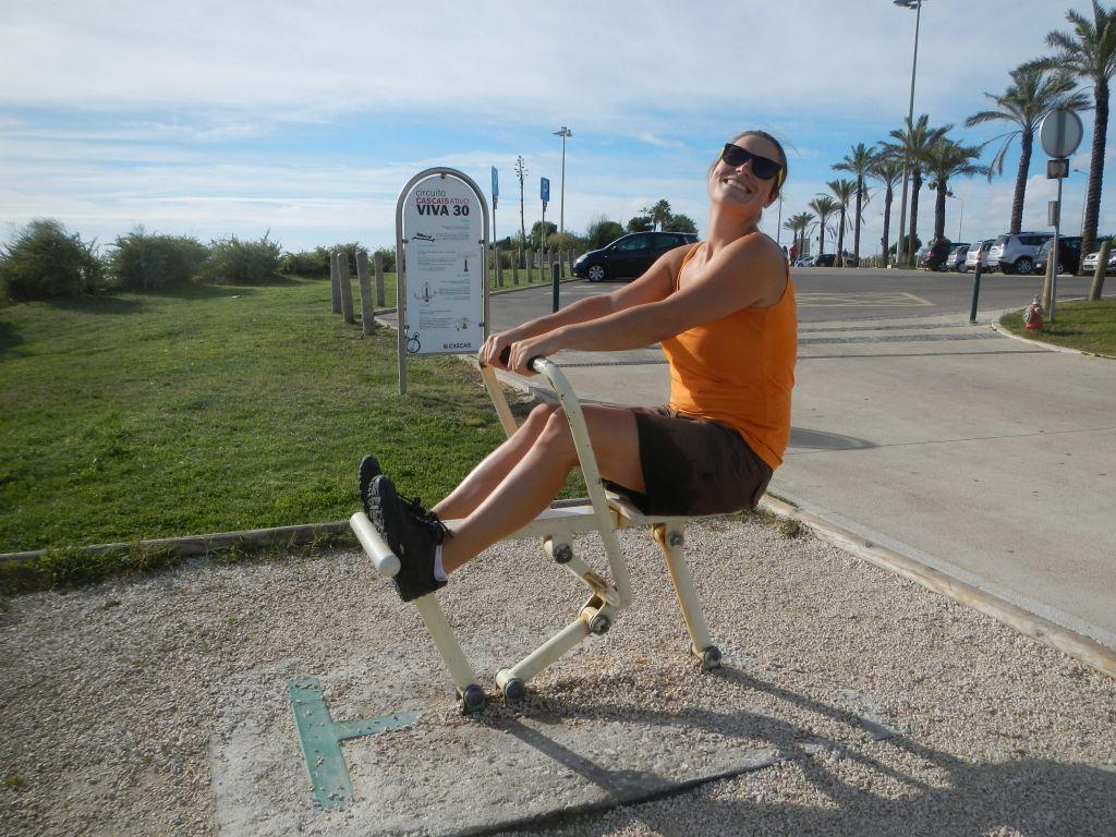 Fitness am Strand von Oeiras.