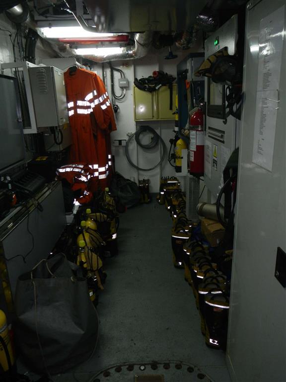 Aufbewahrungsraum für die Bekleidung im Brandfall