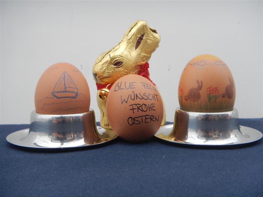 Frohe Ostern wünschen Sabine, Sven und der dicke Felix!