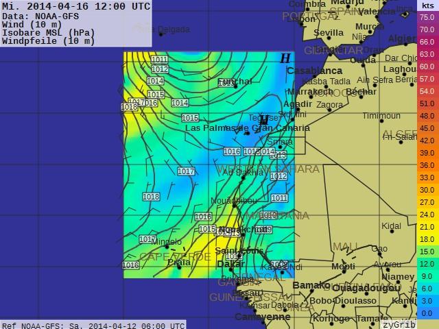 Gribfile für kommenden Mittwoch. Auf der Strecke von Las Palmas nach Mindelo gibt es wohl leider sehr wenig Wind