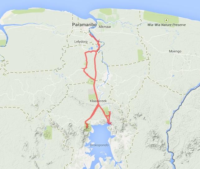 Unsere Route zum Brokopondo-Stausee und zum Brownsberg.