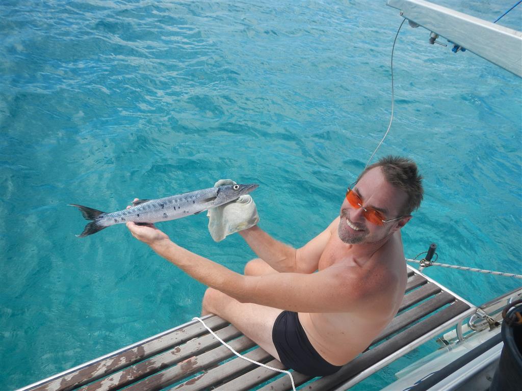 Wir haben unterwegs einen Barracuda gefangen!