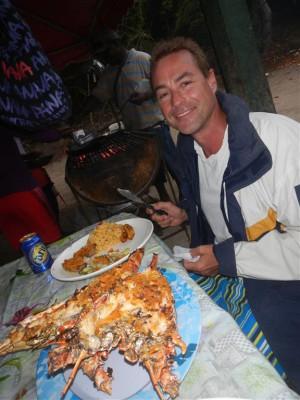 Beim Lobster Barbecue auf Petit Bateau