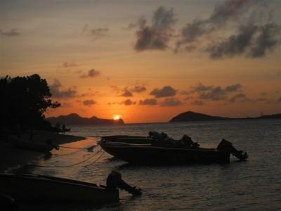 Sonnenuntergang in den Tobago Cays