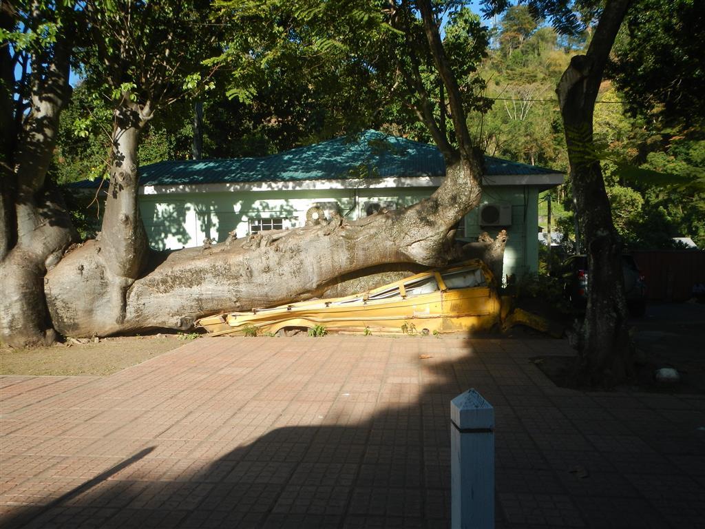 Der einzige Schulbus der Insel fiel einem Hurrican zum Opfer