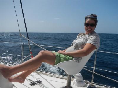 Sabine auf Skippers Lieblingsplatz