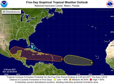 Die erste der zwei tropical waves kommt morgen an.