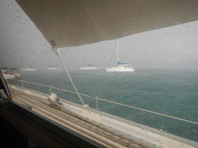 starker Regen, kaum noch Sicht